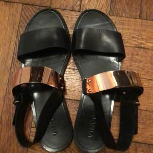 Vince black and gold sandals